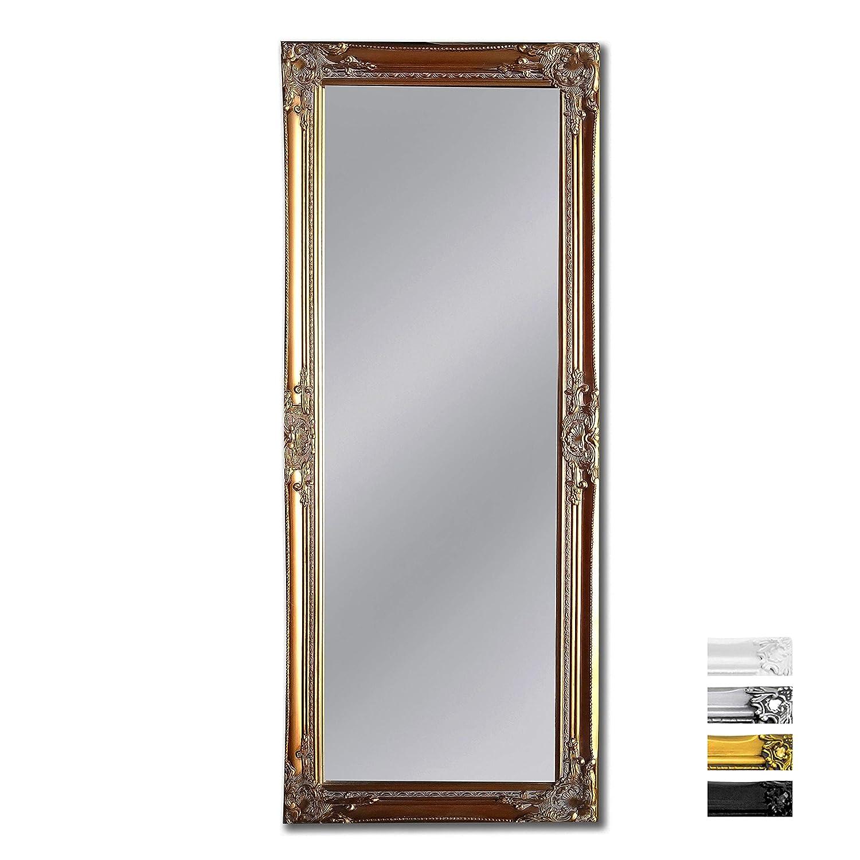 Madera sólida - Shabby Chic Espejo Largo - Grande - 130 x 45 cm - Montado en la Pared o parado con su Pie - Oro
