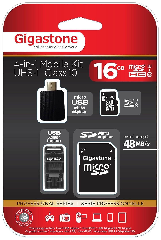Tarjeta 16GB microSD HC Clase 10 (C10 U1) Gigastone 4in1 de ...