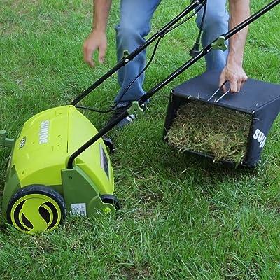Sun Joe Corded-Electric Scarifier Lawn Dethatcher with Collection Bag
