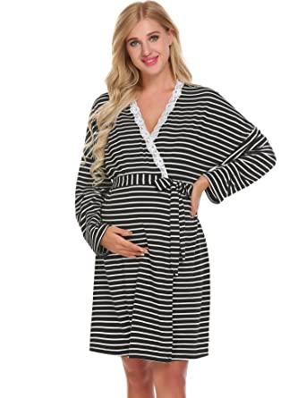 Ekouaer Women Maternity Pregnant Robe Labor Delivery Nursing Gowns