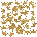 """Ling's moment Gold Crown Confetti for Wedding, Birthday Party, Baby Showers, Festival Items & Princess Party Supplies, Gold Glitter Paper Confetti - DIY Kits, 100 pcs of 1"""" Crowns"""