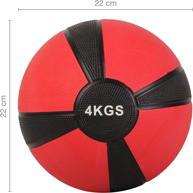 POWRX - Balón Medicinal 4 kg + PDF Workout (Rojo): Amazon.es ...