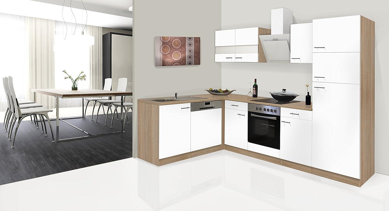 respekta Economy Unidad de Esquina en Forma de L Cocina pequeña Cocina 280 x 172 cm con Cartucho de cerámica Funda Campana: Amazon.es: Hogar