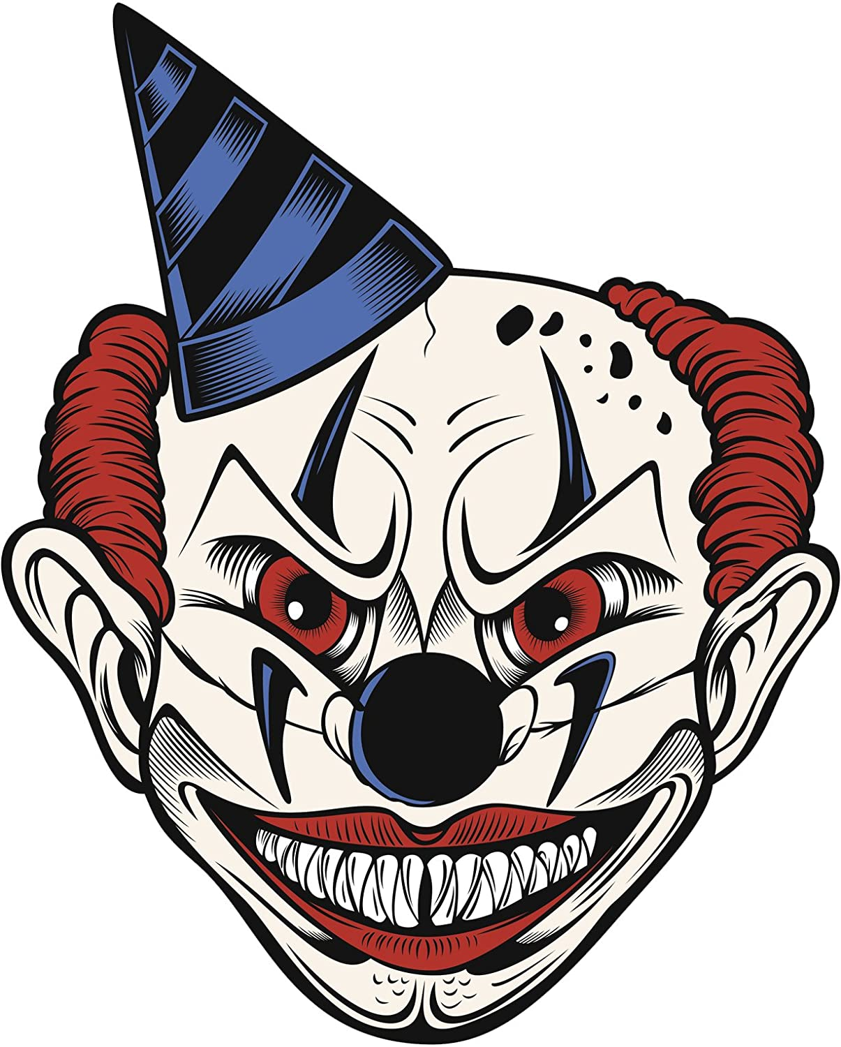 Amazon com creepy scary halloween jester joker clown skull cartoon 3 vinyl decal sticker 12 tall automotive