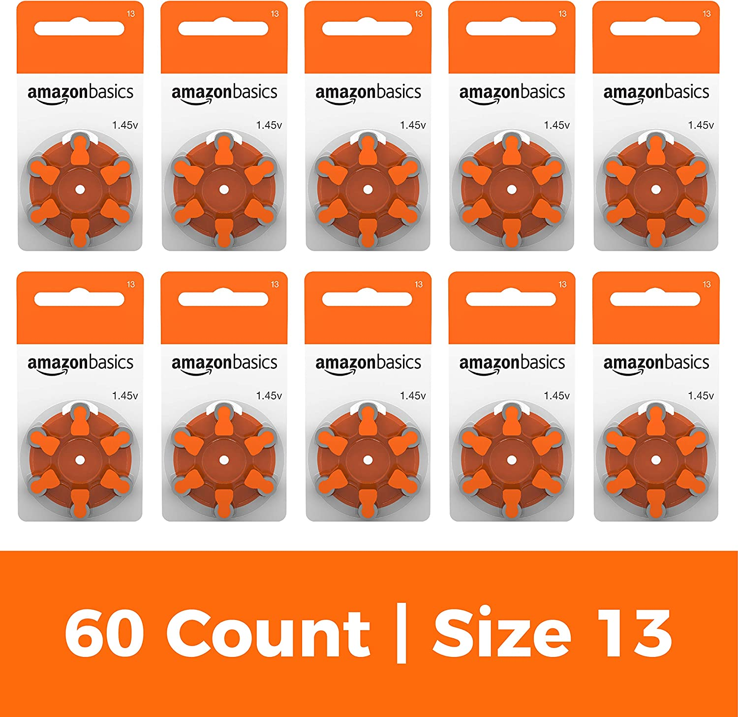 AmazonBasics 1.45 Volt Hearing Aid Batteries - Pack of 60, Size 13