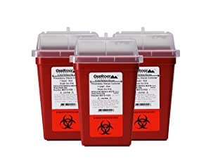 OakRidge Products 1 Quart Size (Pack of 3) Sharps Disposal Container FDA Approved