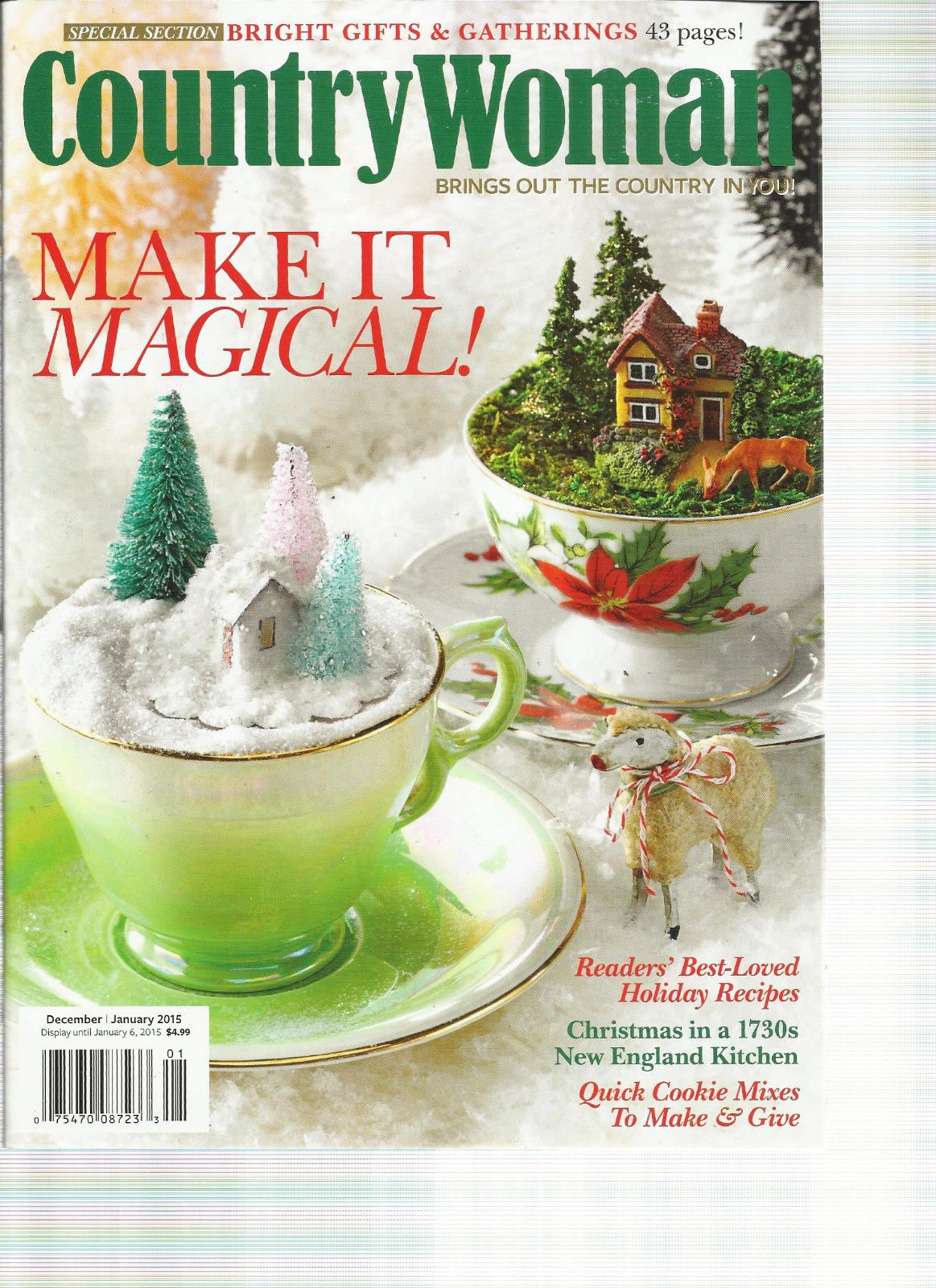 COUNTRY WOMAN MAGAZINE, DECEMBER, 2014 / JANUARY, 2015 (MAKE IT MAGICAL !)
