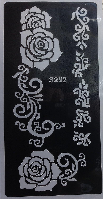 Alheña Plantilla Henna Designs para un solo uso S292para brazo schulder Pierna pie Cuerpo Beyond