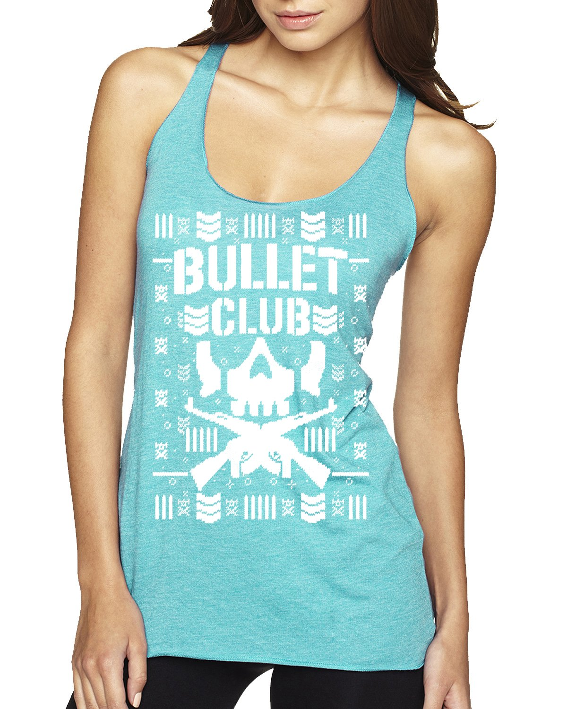 Bullet Club   Wrestling Bone Soldier   Womens Ugly Christmas Premium Tri-Blend Racerback Tank Top, Tahiti Blue, Small
