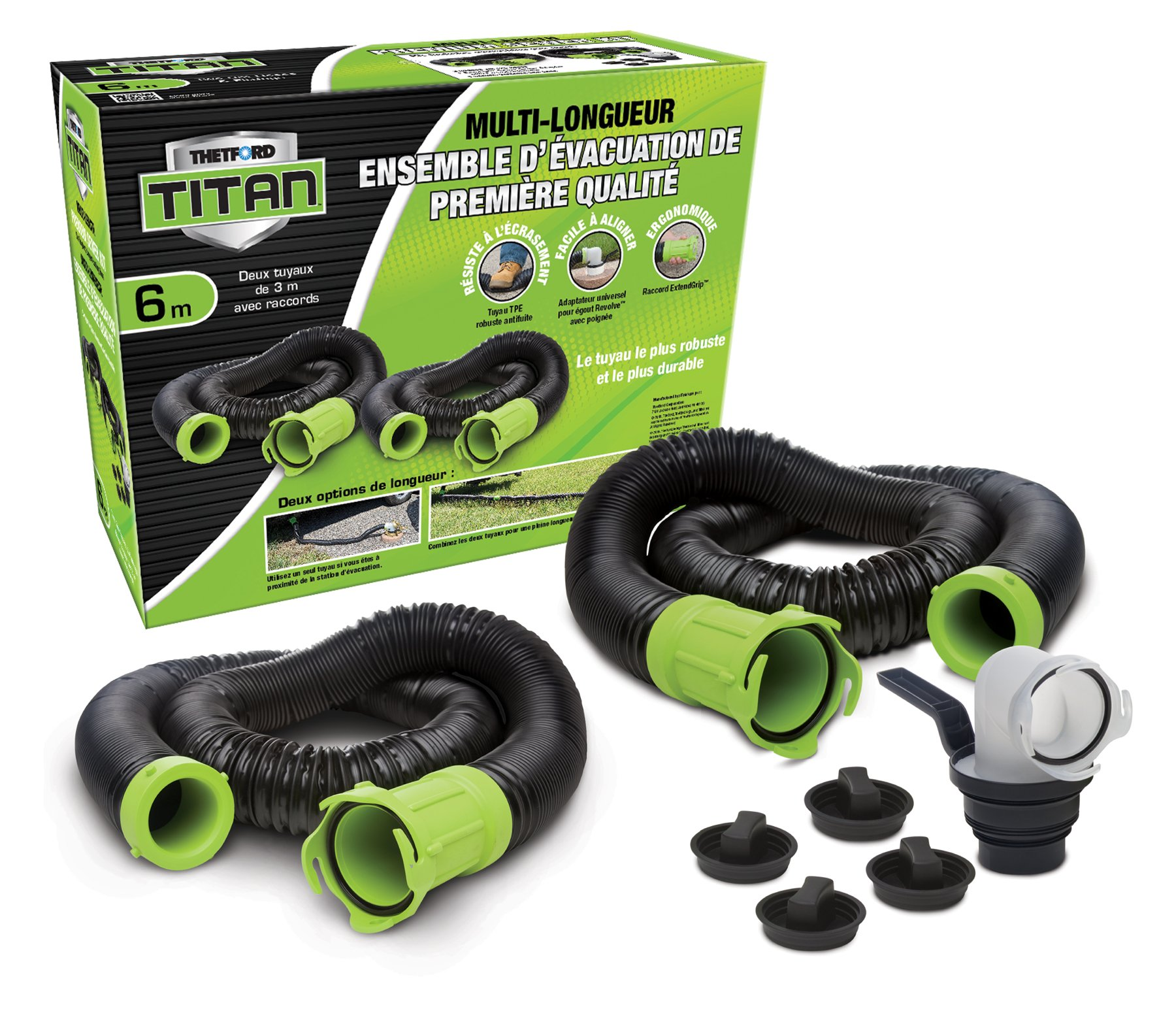 Thetford 17903 Titan 20 Feet Premium RV Sewer Hose Kit Bilingual by Thetford