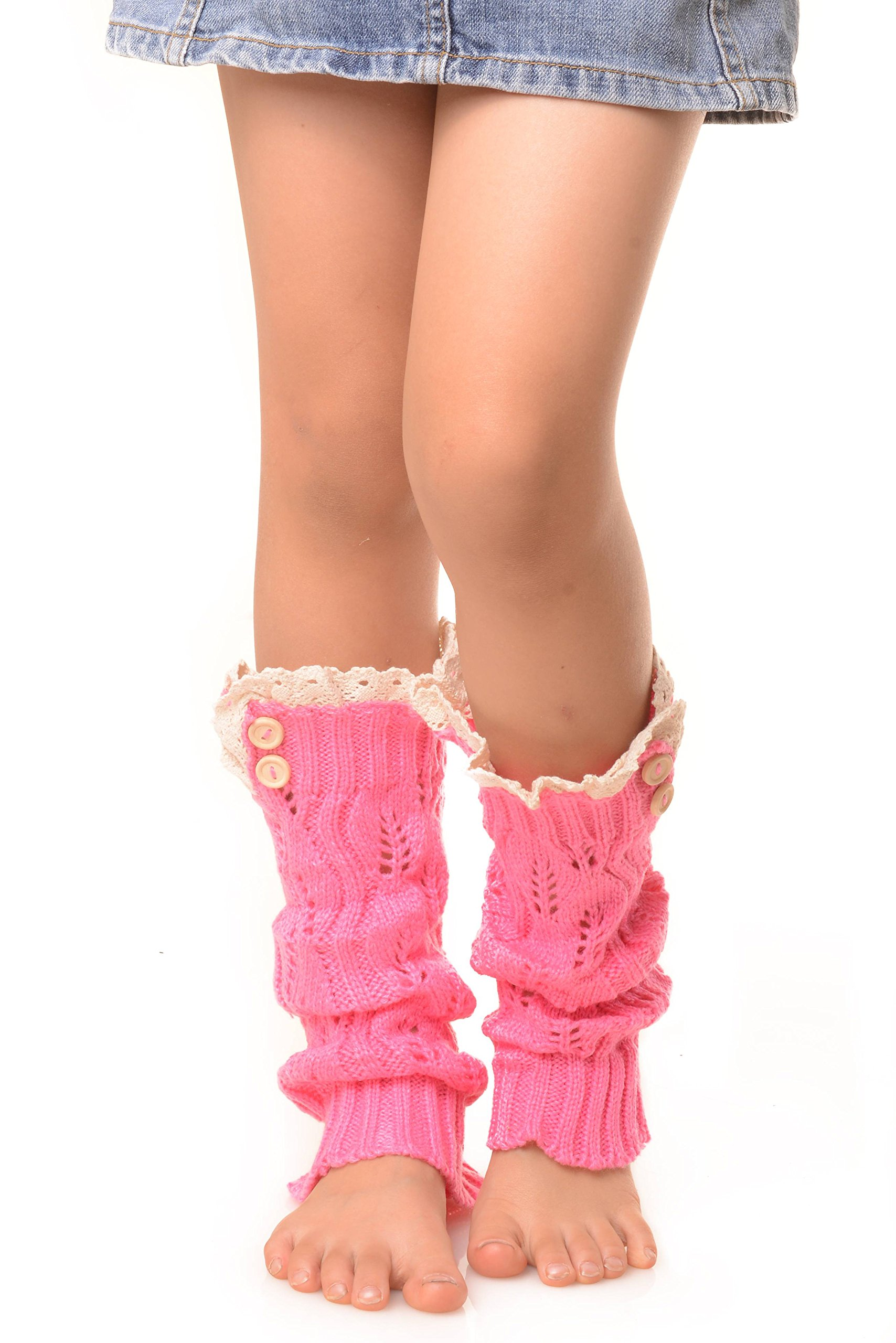 ICONOFLASH Girl's Sweater Knit Leg Warmers with Lace and Button Detail, Fuchsia