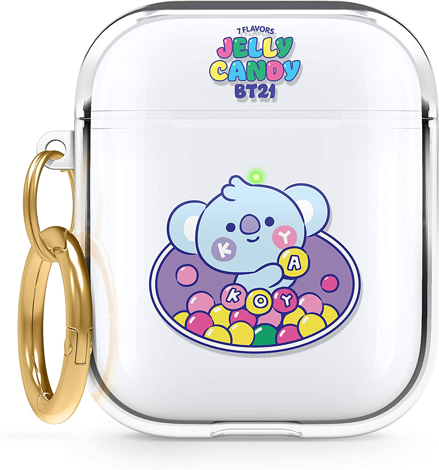 elago BT21 Case Compatible with Apple AirPods Case 1 & 2, Clear Case with Keychain, Reduced Yellowing and Smudging, Supports Wireless Charging [Official Merchandise] [KOYA]