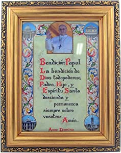 Pope Francis Spanish Papal Blessing in Antique Gold and Wood Toned Frame, 7 Inch