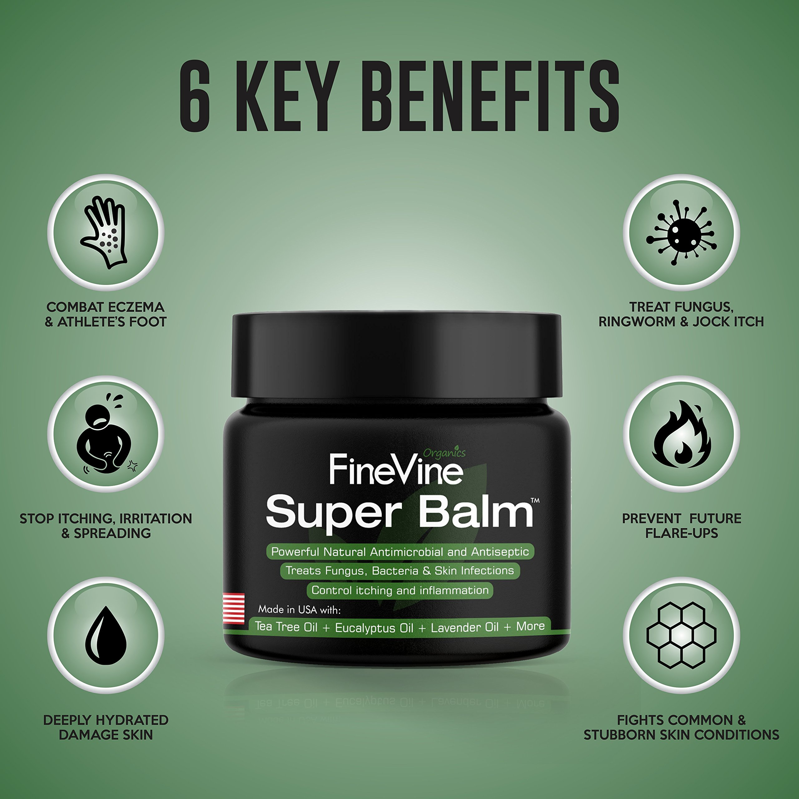 Antifungal Balm - Made in USA - Helps Treat Eczema, Ringworm, Jock Itch, Athletes Foot and Nail Fungal Infections - Best Natural Ointment to Soothes Itchy, Scaly or Cracked Skin. by FineVine (Image #3)