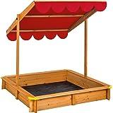 TecTake Sandkasten mit verstellbarem Dach Sitzbänke Spielhaus Holz Sonnendach Bodenplane - diverse Farben - (Rot | Nr. 402221)