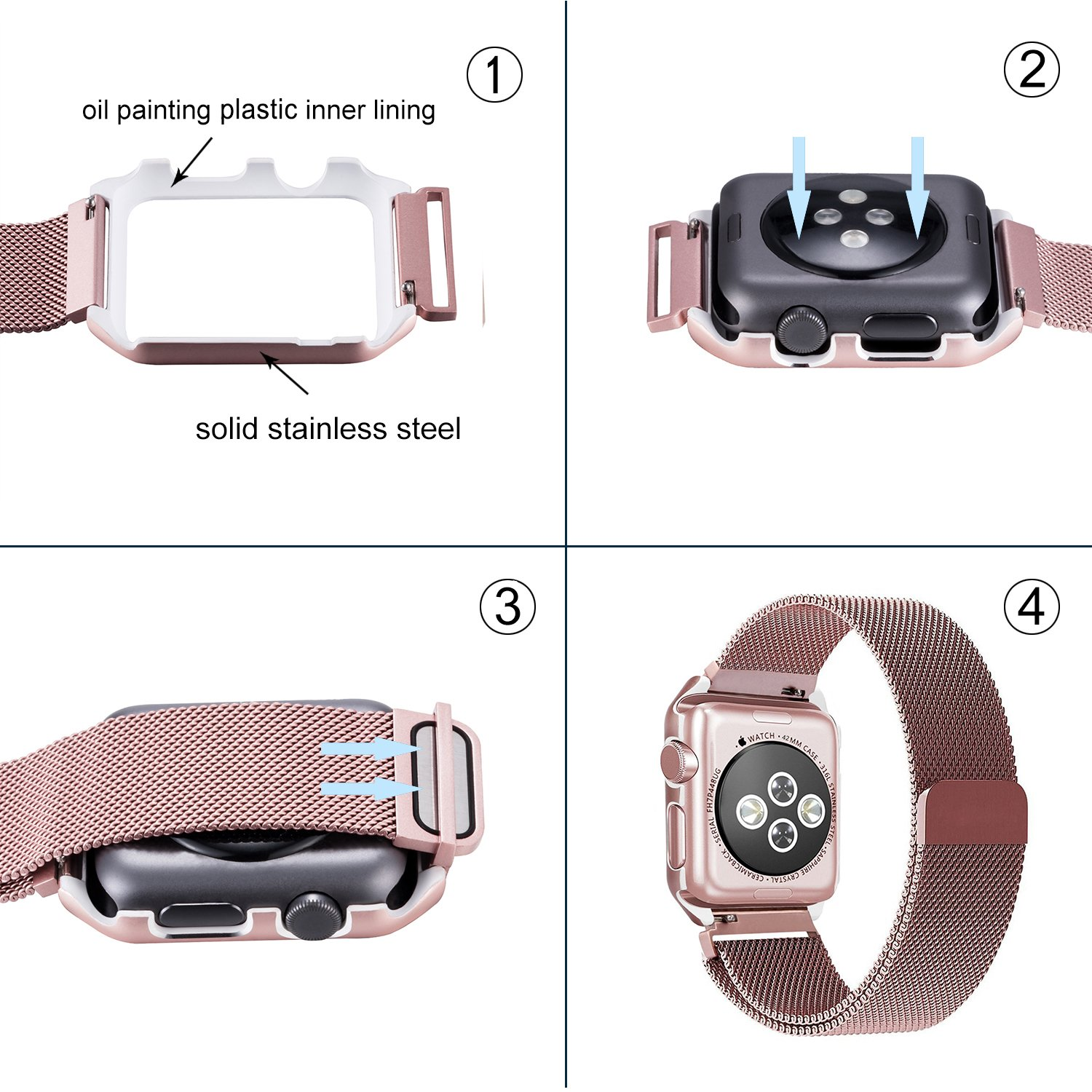 Apple Watch Band, iBazal 38mm Protective Case, Upgraded Milanese Stainless Steel Magnetic Closure Clasp Replacement iWatch Band for All 38mm Apple Watch Series 2&Series 1&Sport&Edition-Rose Gold 38mm