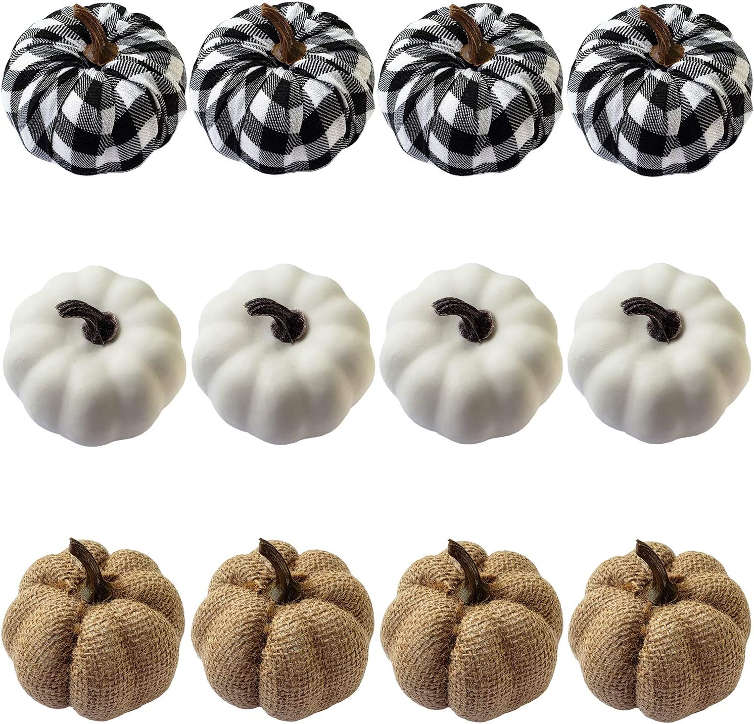 WsCrofts 12Pcs Artificial Pumpkins Set, White