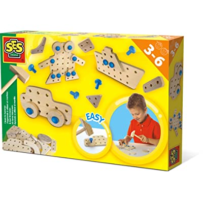 SES Creative - I Learn to Hammer - Wooden Tool Kit for Kids - Includes Wooden Hammer and Plastic Nails: Toys & Games
