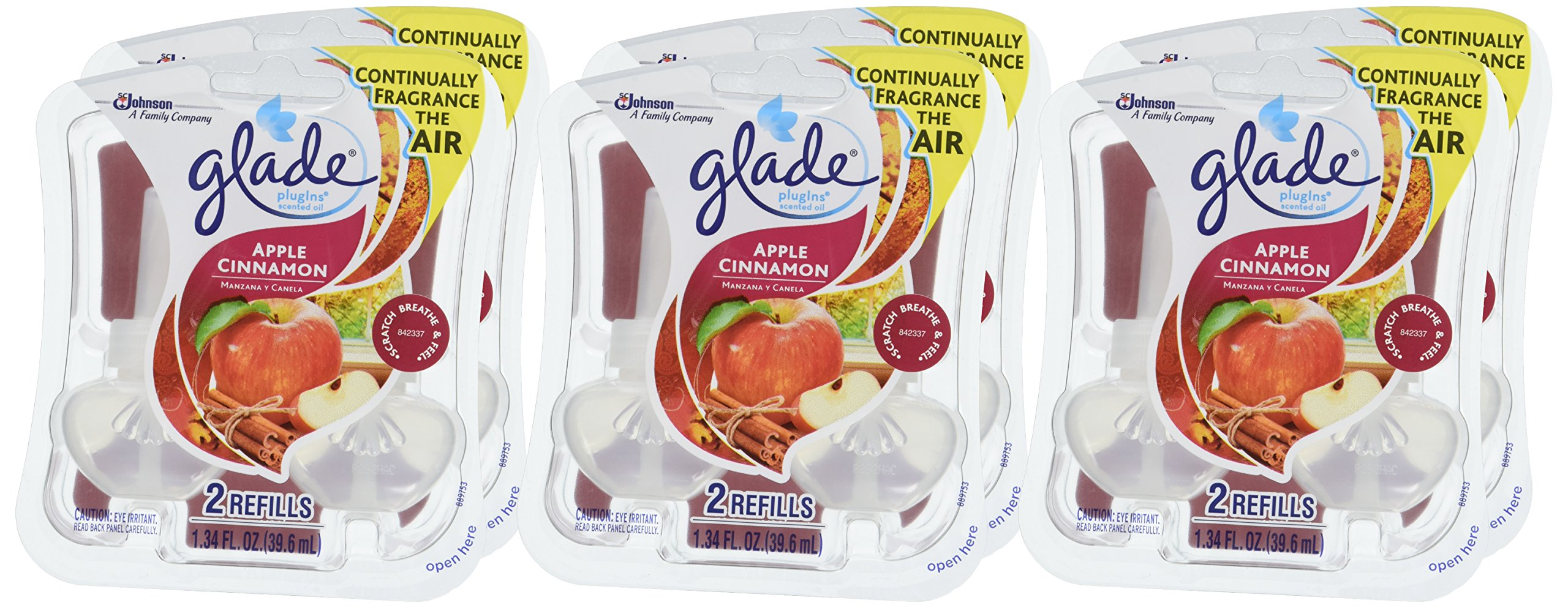 Glade PlugIns Scented Oil Air Freshener Refill, Apple Cinnamon, 2 refills, 1.34 fl oz by Glade (Image #2)