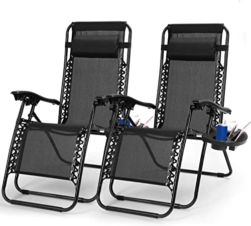 Zero Gravity Chair Adjustable Patio Lounge Chairs TeqHome Set of 2