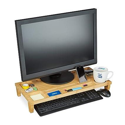 Relaxdays Soporte Monitor y Portátil con 8 Compartimentos, Bambú, Marrón, 9 x 60