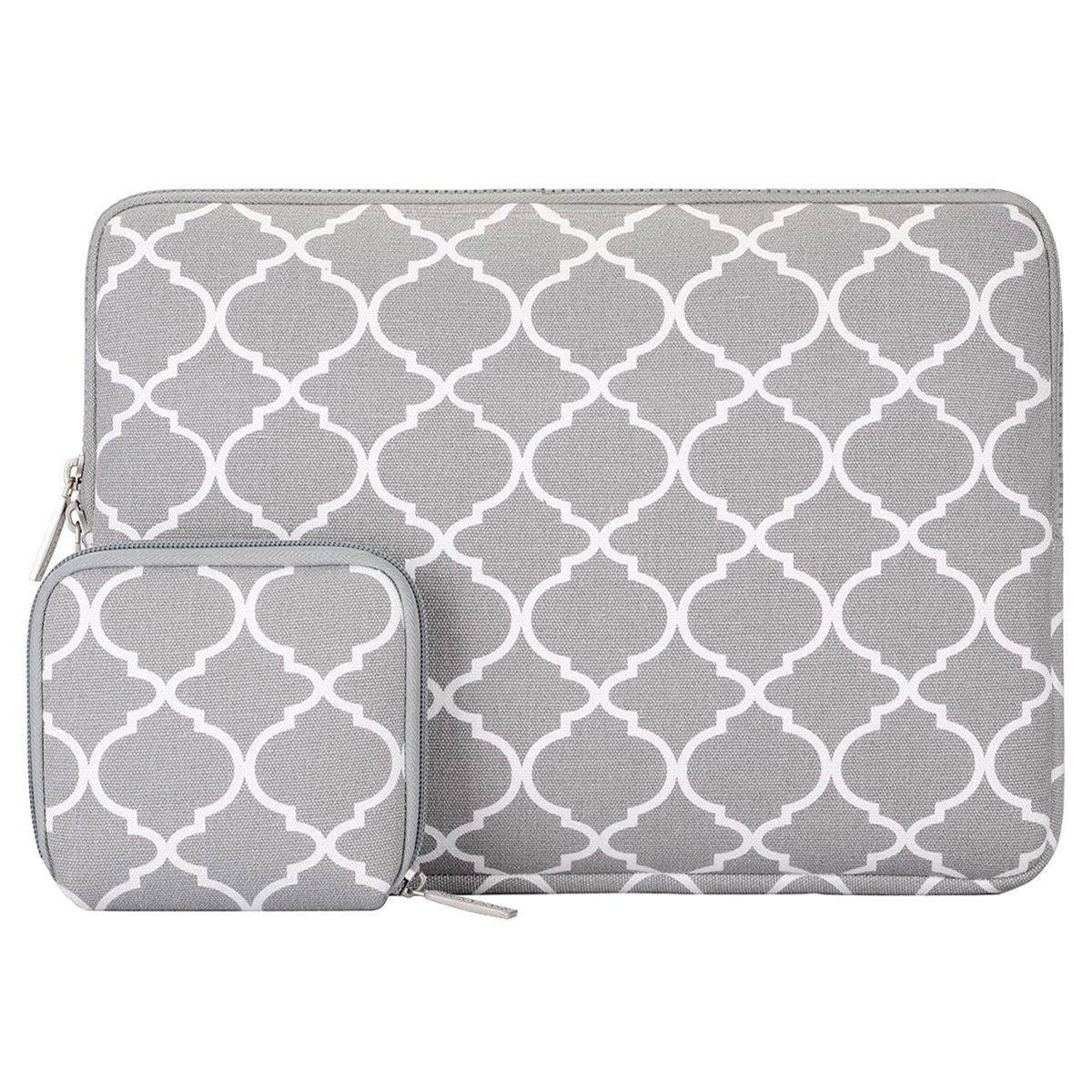 MOSISO Laptop Sleeve Bag Compatible 13-13.3 Inch MacBook Pro, MacBook Air, Notebook Computer with Small Case, Canvas Geometric Pattern Protective Carrying Cover, Gray Quatrefoil by MOSISO