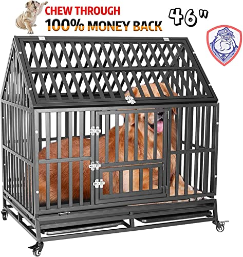 Heavy Duty Dog Cage Crate, Pet Kennel Strong Metal for Training Large Dogs, Easy to Assemble, with Prevent Escape Lock Four Lockable Wheels, Removable Tray for Indoor Outdoor