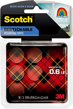 - 1 Pack 18-Dots 0.78 Dots Scotch Restickable Dots 7//8-in x 7//8-in R105 Clear