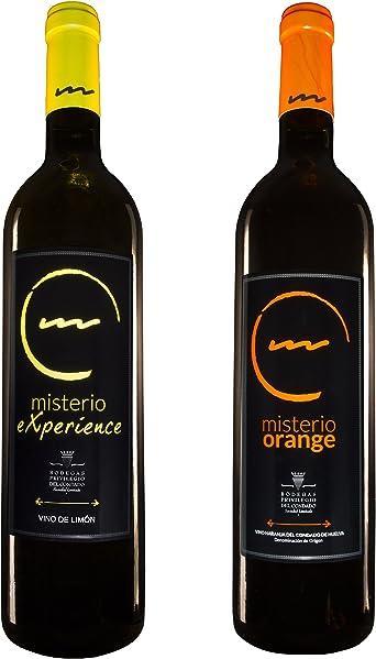 Pack de 2 Botellas Vino de Postre o Aperitivo - 1 Botella Vino de Limón Misterio Experience y 1 Botella de Vino de Naranja Misterio Orange de 0,75L: Amazon.es: Alimentación y bebidas