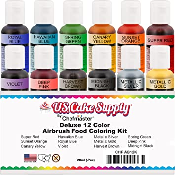 Amazon.com : U.S. Cake Supply by Chefmaster Airbrush Cake Color Set ...