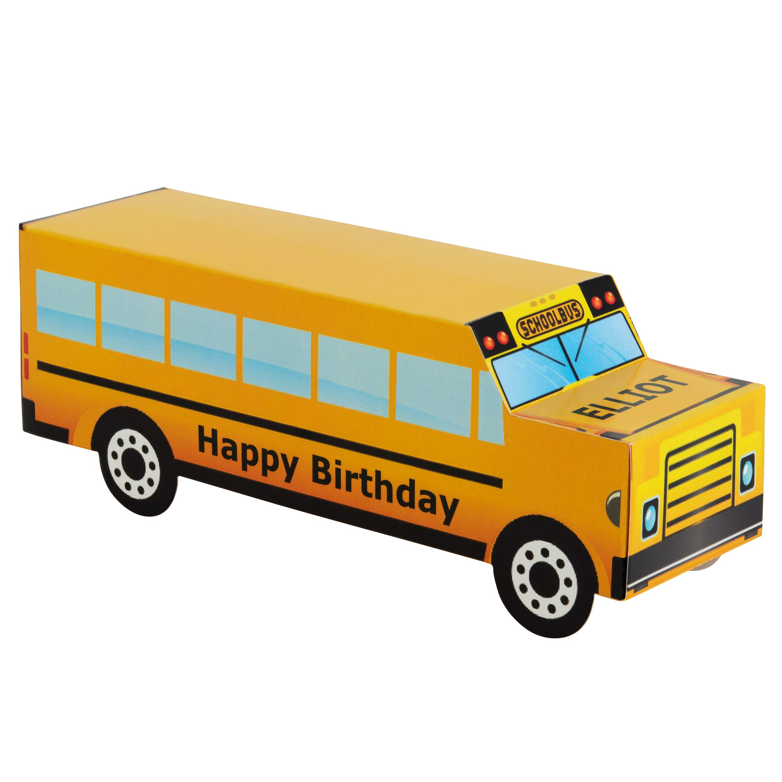 Personalized Treat Bags Gift Boxes for Kids   24 Pack Party Favor Gift Boxes   Customized Happy Birthday Yellow School Bus Boxes   Fill with Your Chocolate Treats and Prizes