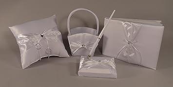 Flower Basket Set of 4 Gold Sequin Glitter Wedding Ring Pillow Guest Book Pen Set Rhinestone D\u00e9cor Wedding Party Ceremony Favor