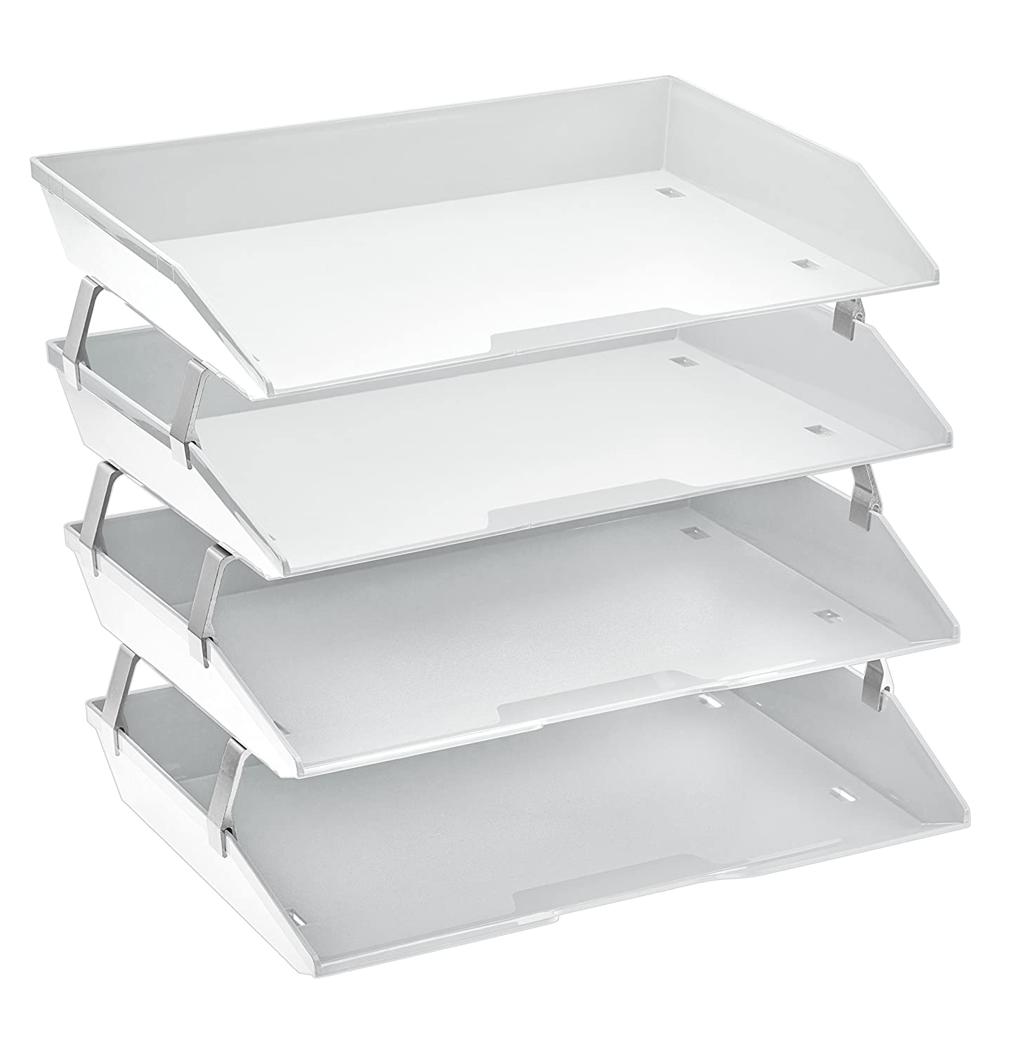 Acrimet Facility 4 Tier Letter Tray Side Load Plastic Desktop File Organizer (White Color)