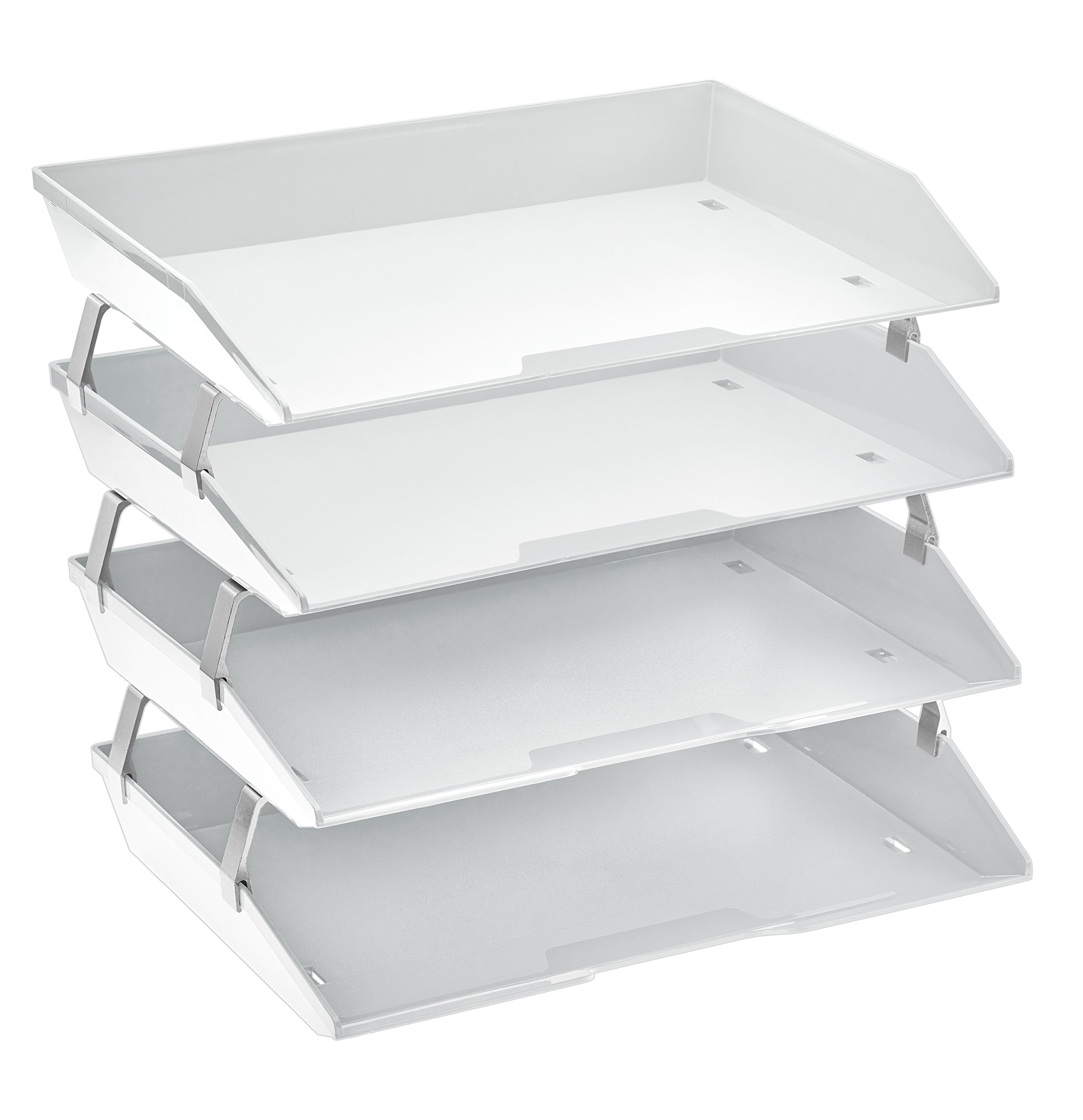 Acrimet Facility 4 Tier Letter Tray Side Load Plastic Desktop File Organizer (White Color) by Acrimet