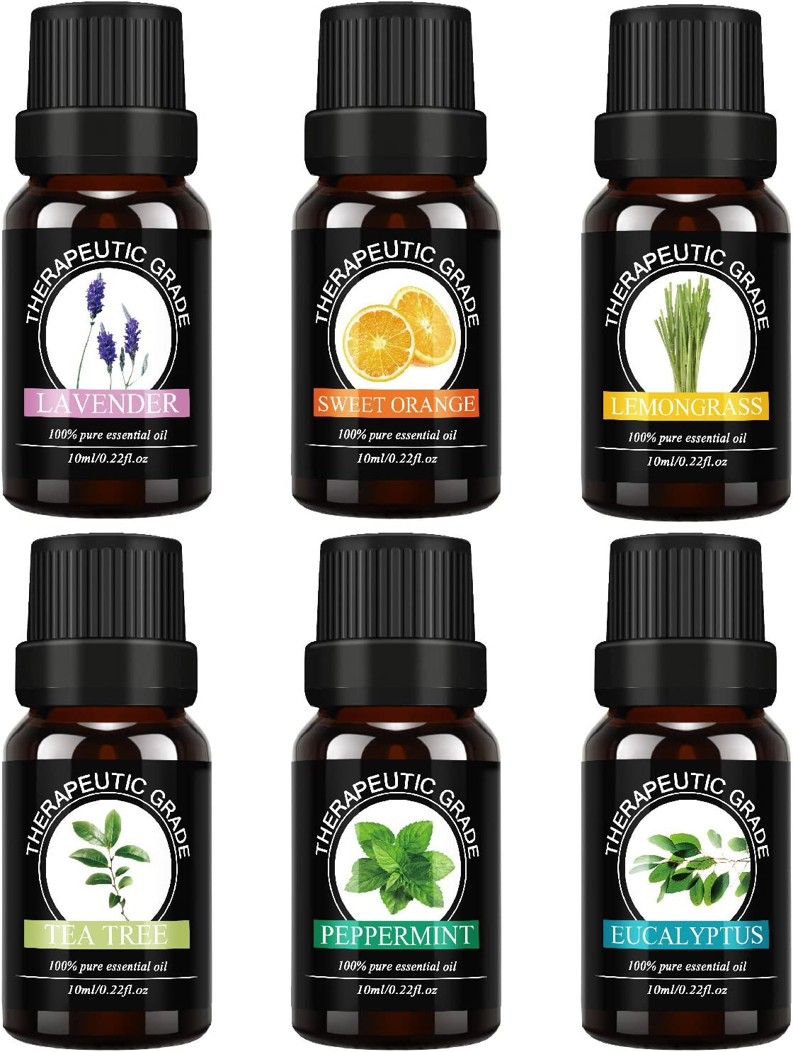 Top 6 100% Pure Premium Therapeutic Grade Oils -Lavender, Tea Tree, Eucalyptus, Lemongrass, Orange, Peppermint Essential Oils.