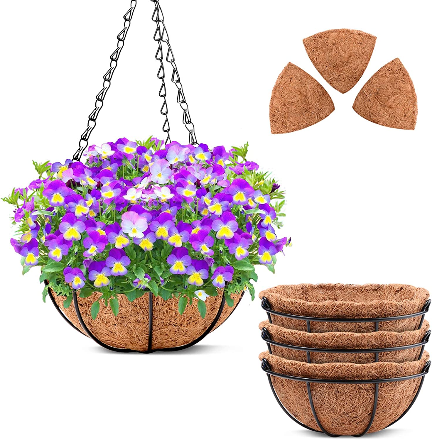 Metal Hanging Planter Baskets with Coco Coir Liner 10 Inch, 4 Pack Plant Holders and Flower Pots with Wire Chain for Outdoor Porch, Watering Hanging Baskets for Balcony Garden Decoration