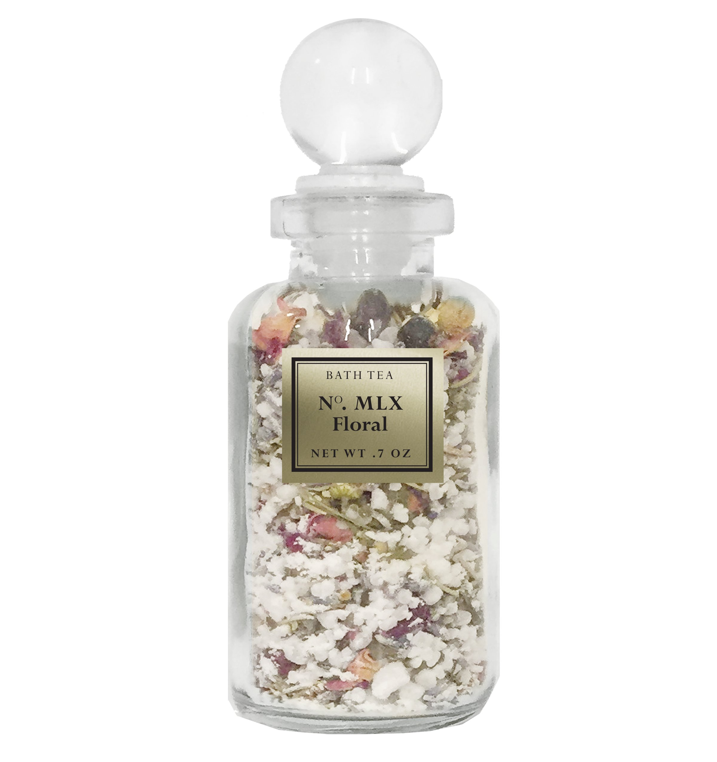 Bath Tea - Floral - Natural Herbal Aromatherapy Bath Soak for Tub - Makes a Great Gift - Collectible Glass Apothecary Bottle by BIOS Apothecary