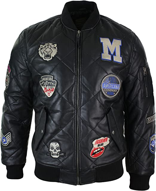 Mens Real Lether Quilted Puffer Varsity Baseball Bomber Letterman Jacket Badge