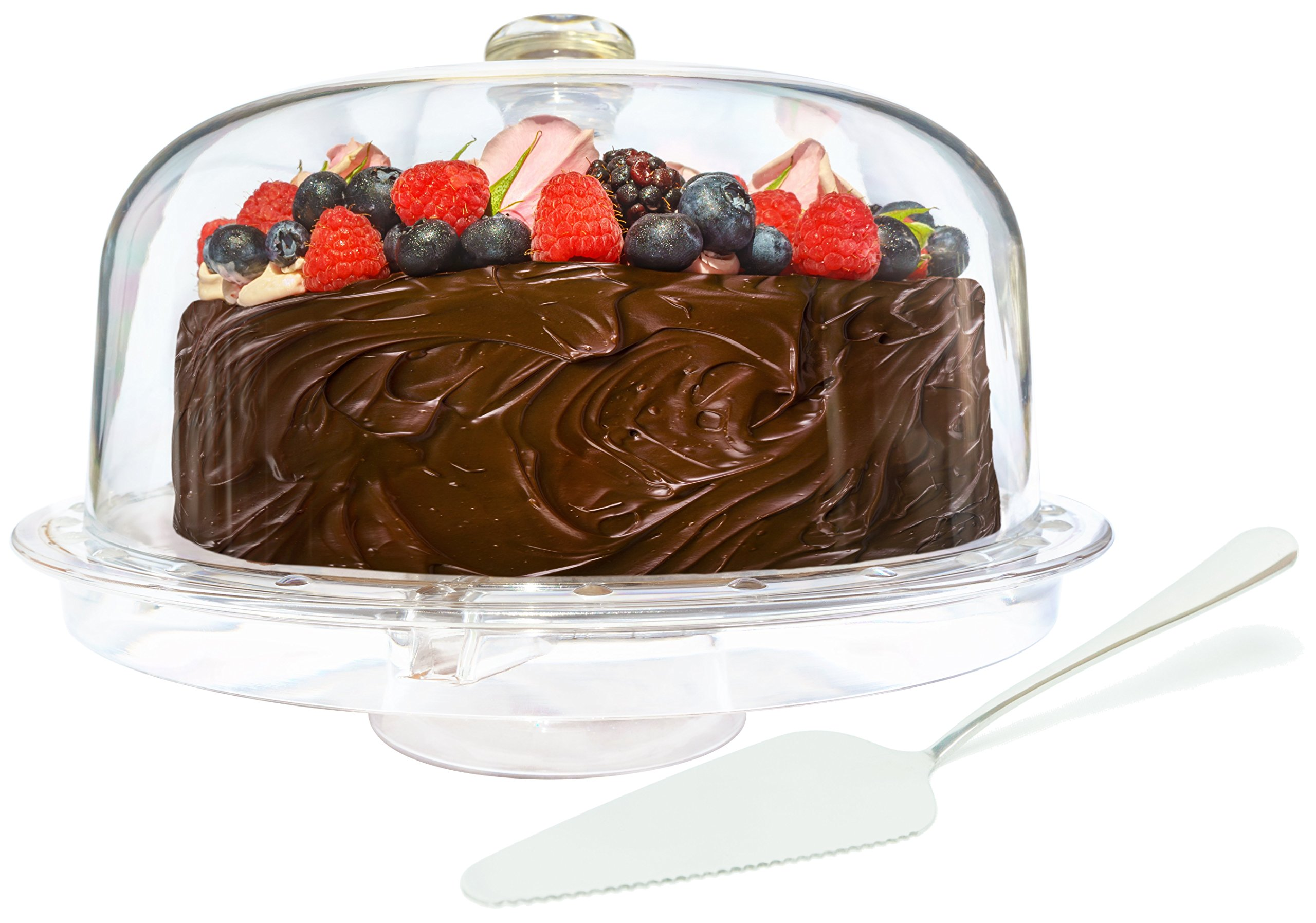 ImpiriLux Acrylic Cake Dome Stand and Multifunctional Serving Platter with Stainless Steel Cake Cutter Server for Desserts, Chips, Salads, Pastry and more