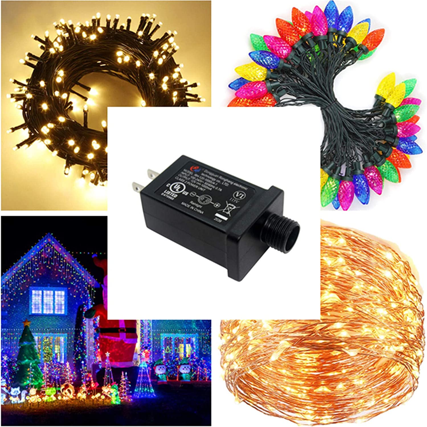 String Light Inflatable Device Fountain Lights 12V 1A Class 2 Power Supply LED Transformer 12W LED Adapter Replacement for Christmas Tree