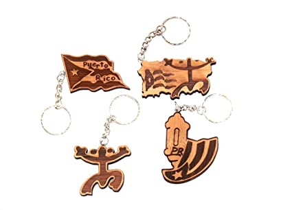 Wooden Keychain Ring PUERTO RICO FLAG, GARITA, COQUI, MAP Figure For All Keys Brown Pack Lot 4