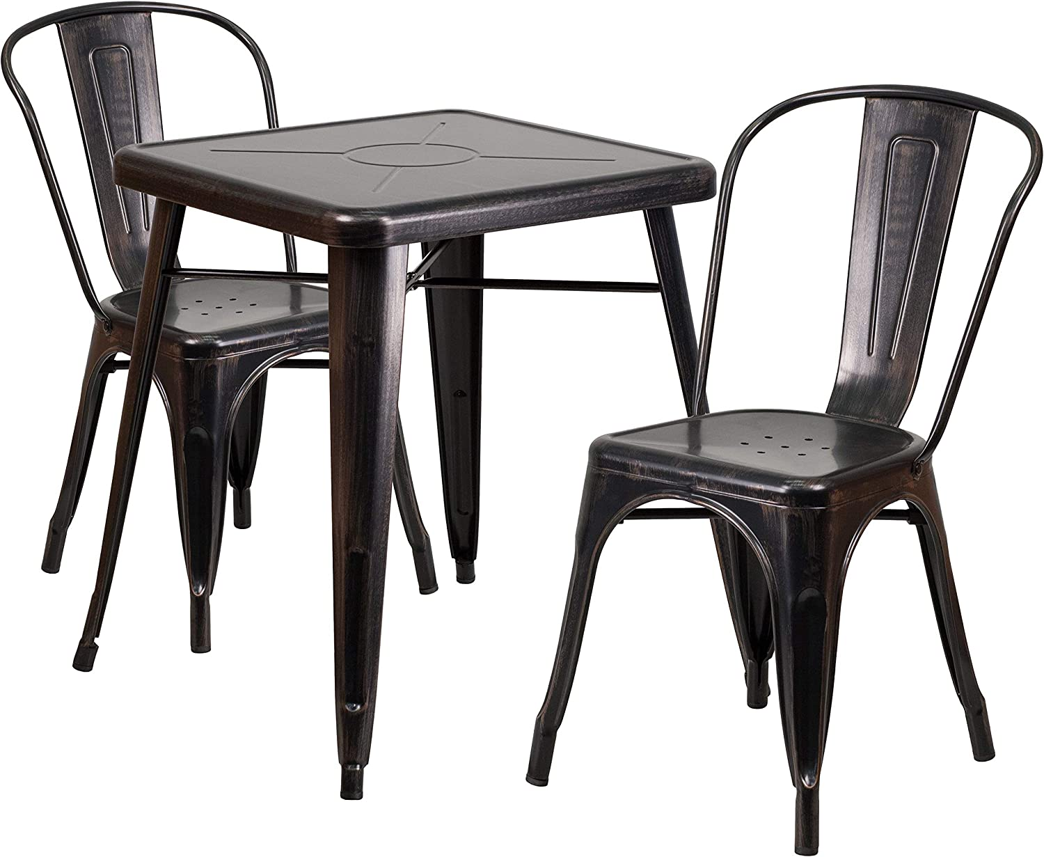 Flash Furniture 23.75 Square Black-Antique Gold Metal Indoor-Outdoor Table Set with 2 Stack Chairs