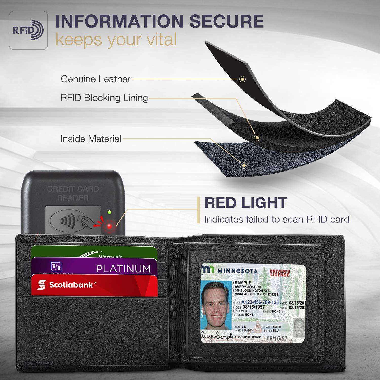 Luxury Soft Leather Wallet 9 Card Slots 1 ID Window Business Man RFID Blocking