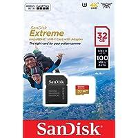 SanDisk - Tarjeta de Memoria Extreme 32 GB microSDHC para cámaras de Deportes de acción + Adaptador SD, Velocidad de Lectura hasta 100 MB/s, Clase 10, U3, V30 y A1