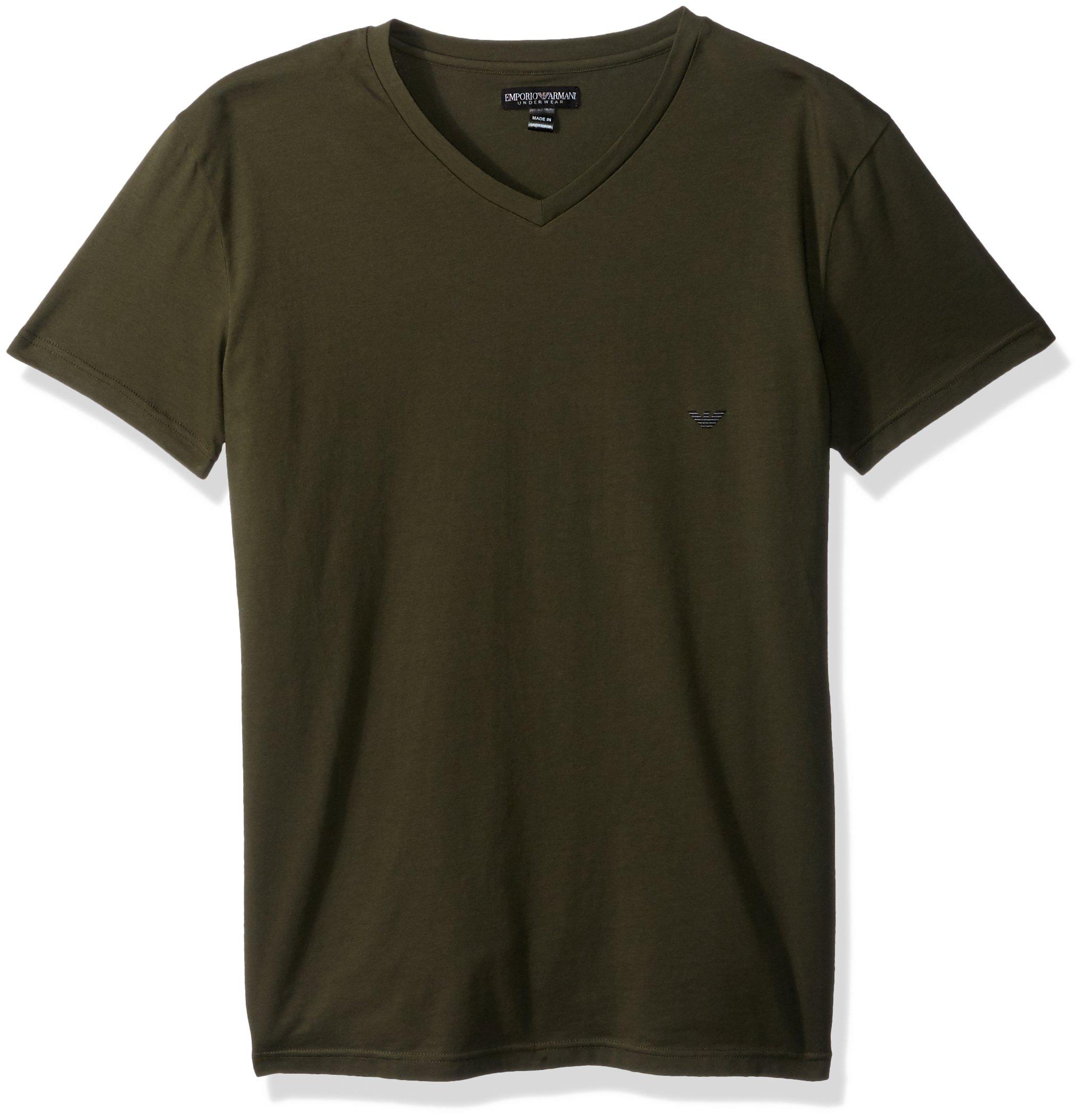 Emporio Armani Men's Iconic Logoband V-Neck, Military, XL