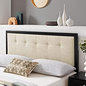 Draper Tufted Full Fabric and Wood Headboard in Black Beige
