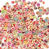 Renashed 200Pcs 15mm Mixed Color Design Wooden Buttons in Bulk for Crafts Scrapbooking or Sewing and DIY Craft