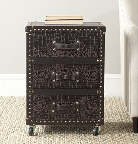 Safavieh Home Collection Llyoyd Black, Brown Silver 3 Drawer Rolling Chest