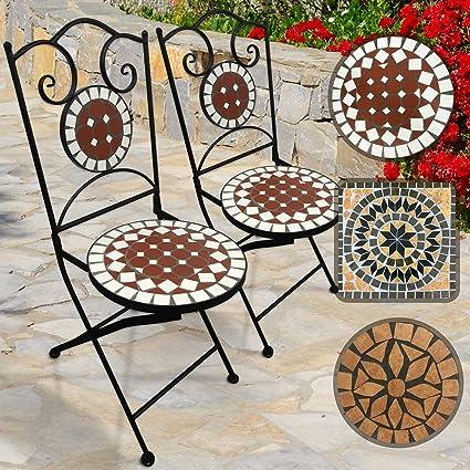 Jago Mosaik Gartenstühle Rund 2er Set Klappbar 46cm Sitzhöhe Massiv Und Stabil Rot Weiß Farb Und Designauswahl Mosaikstühle Klappstühle