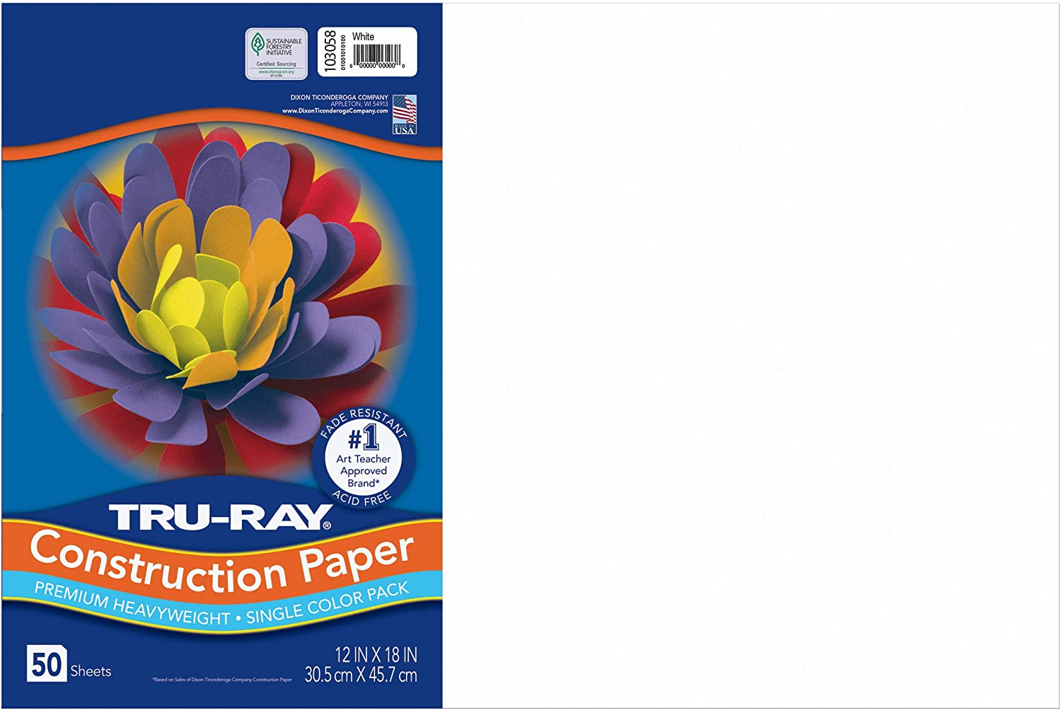 """Tru-Ray Heavyweight Construction Paper, White, 12"""" x 18"""", 50 Sheets : White Paper : Office Products"""